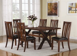 """X"" Style 7 Piece Dining Set in Medium Brown Finish by Coaster - 103121"
