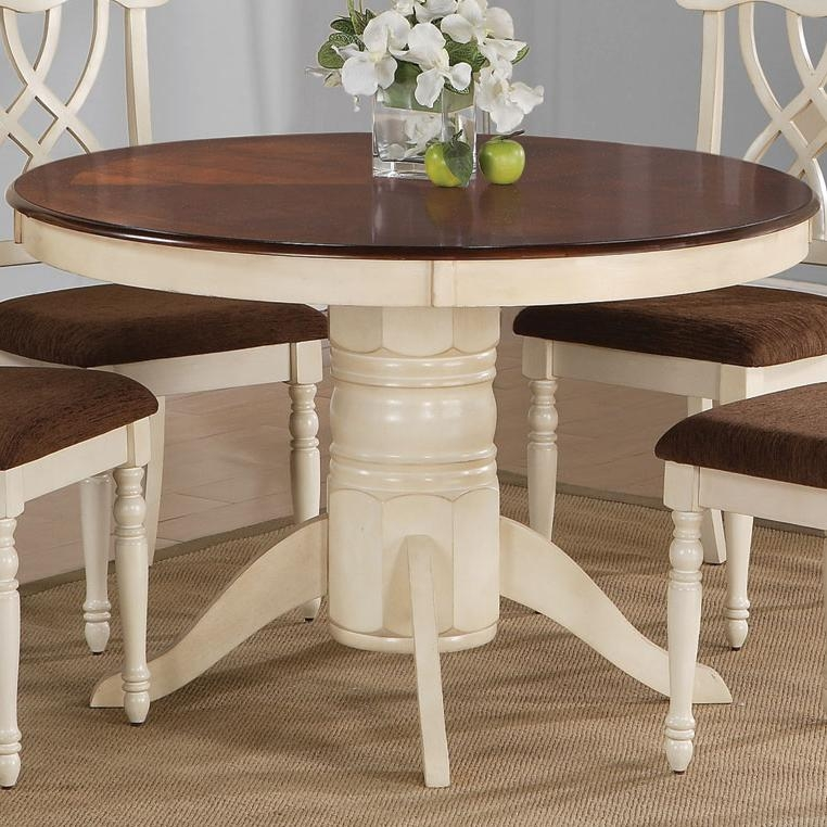 Cameron 5 Pc Cottage Round Pedestal Table Set In Buttermilk U0026 Dark Cherry  Finish By Coaster   103180