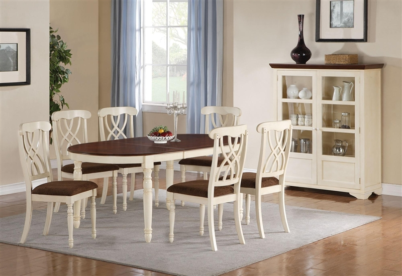 Cameron 7 Pc Cottage Oval Leg Table Set In Buttermilk U0026 Dark Cherry Finish  By Coaster   103181