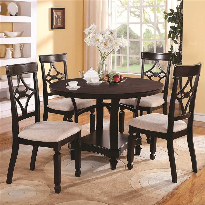 maude 5 piece round dining set in cappuccino finishcoaster