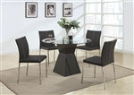 Ophelia 5 Piece Round Glass Top Dining Set by Coaster - 103731B