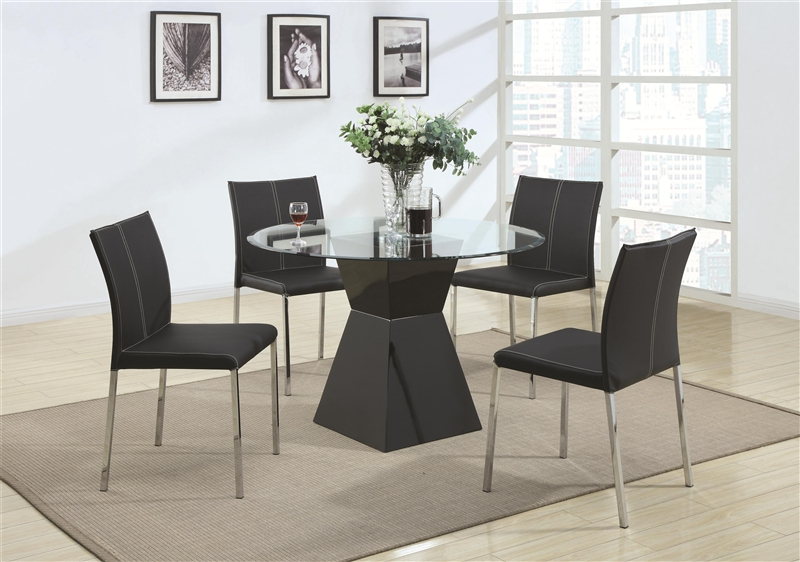 Ophelia 5 Piece Round Glass Top Dining Set By Coaster