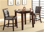 3 Piece Counter Height Dining Set in Brown Finish by Coaster - 103787