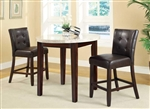 3 Piece Counter Height Dining Set in Brown Finish by Coaster - 103788