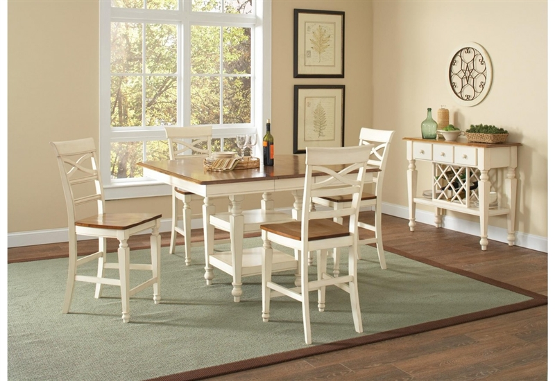 ashley 5 piece counter height dining set in two tone white and oak finish by coaster