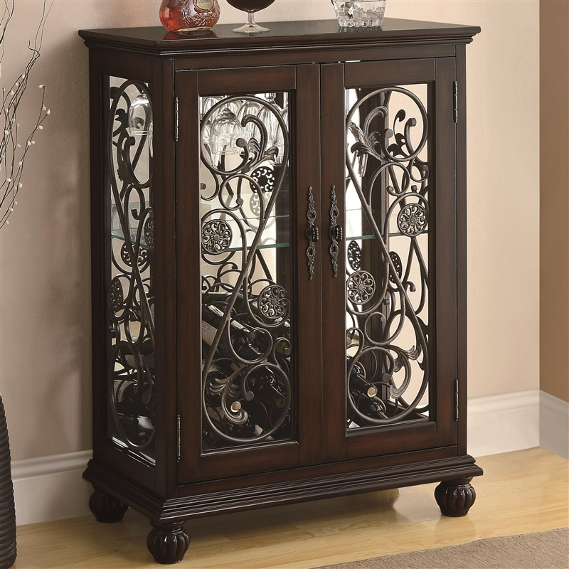Wine Rack Cabinet With Metal Scroll Accents By Coaster