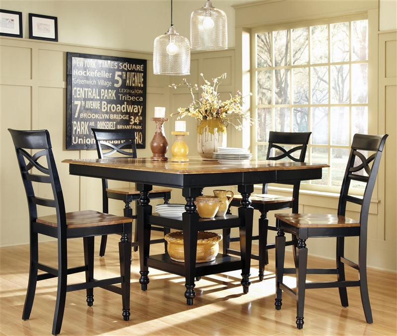 Ashley 5 Piece Counter Height Dining Set In Two Tone Black