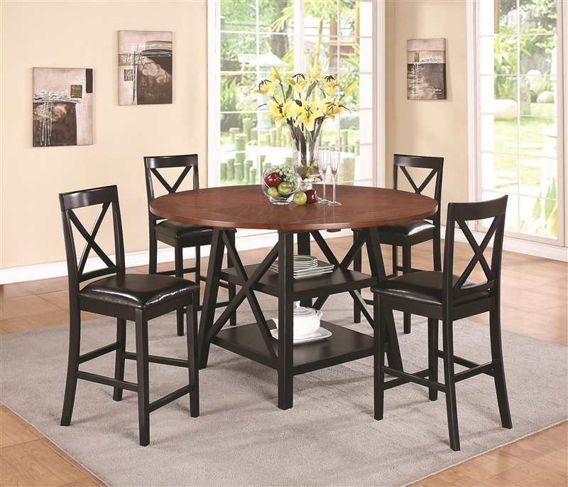 piece counter height dining set in two tone rustic oak and black