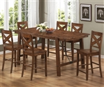 Lawson 7 Piece Counter Height Dining Set in Rustic Oak Finish by Coaster - 104188