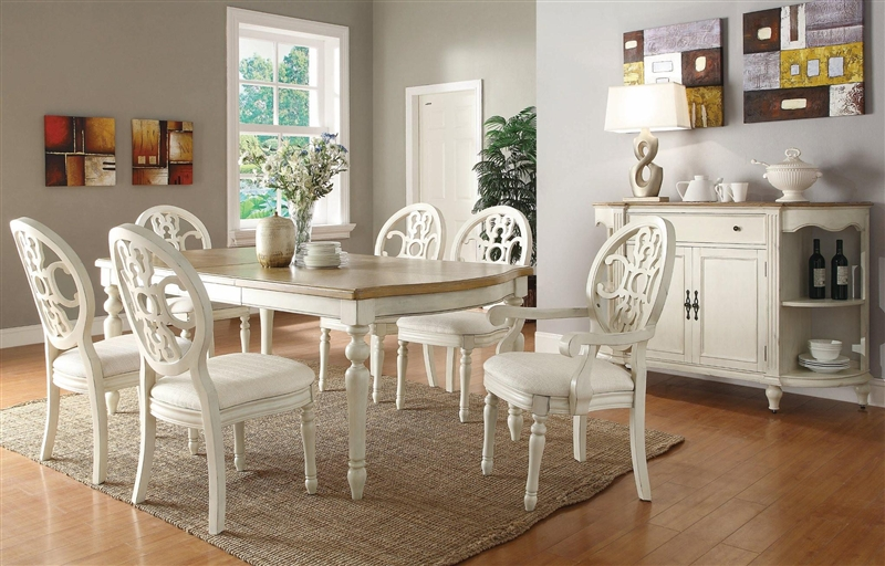Marvelous Rebecca 7 Piece Dining Set In Antique White And Oak Two Tone Finish By  Coaster   104241