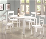 Henson 5 Piece Dining Table Set in White Finish by Coaster - 104361