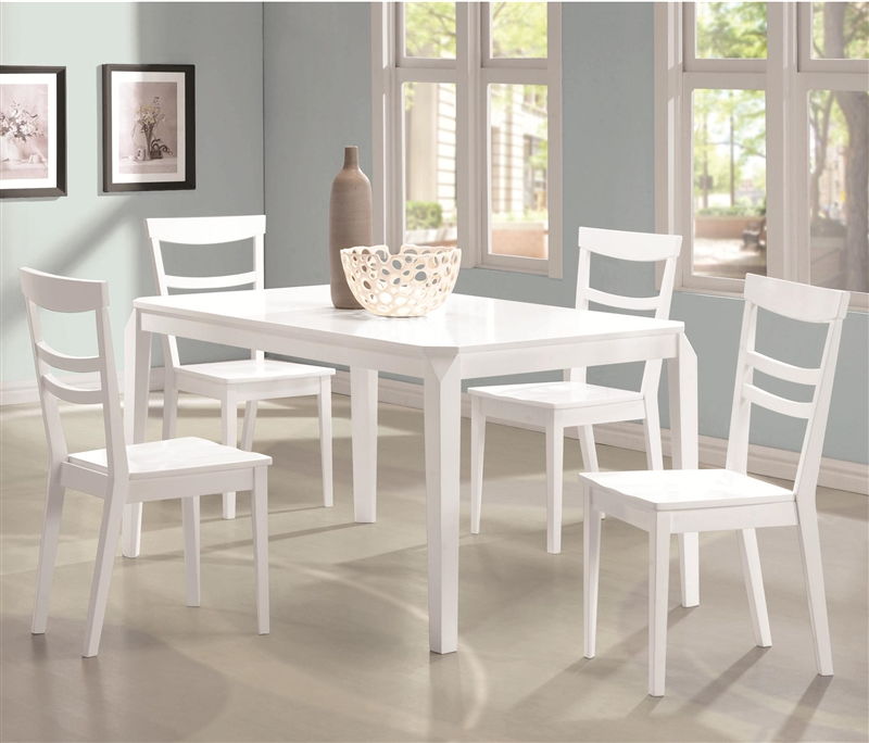 5 Pc Black White Dining Room Set Furniture Dinette Kitchen: Henson 5 Piece Dining Table Set In White Finish By Coaster