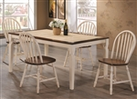 Bradley 5 Piece Dining Table Set in Warm Brown/Antique Beige Finish by Coaster - 104381