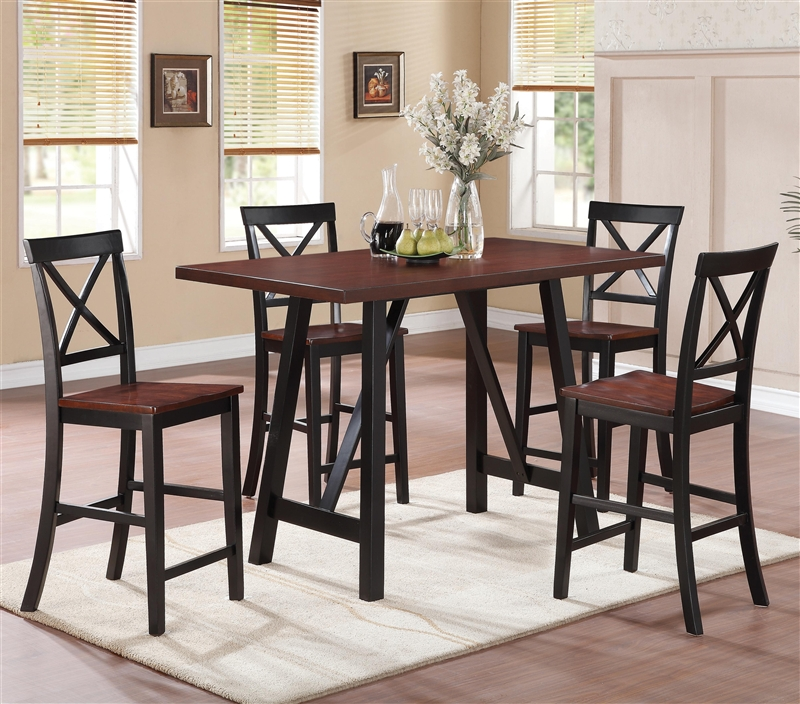 makelim 5 piece counter height dining set in two tone walnut and