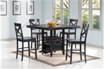 Hudson 5 Piece Counter Height Dining Set in Black Finish by Coaster - 104838