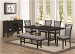 Lasalle 5 Piece Dining Set in Deep Merlot Finish by Coaster - 104921-5
