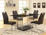 Ethan 5 Piece Dining Table Set in Black and Chrome Finish by Coaster - 105301