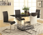 Ethan 5 Piece Dining Table Set in Black and Chrome Finish by Coaster - 105301-W