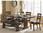 Campbell 5 Piece Dining Table Set in Vintage Cinnamon Finish by Coaster - 105341