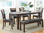 Dupree 5 Piece Dining Set w/ Butterfly Leaf in Dark Brown Finish by Coaster - 105471