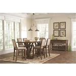 Bridgeport 5 Piece Counter Height Dining Set in Weathered Acacia Finish by Coaster - 105528