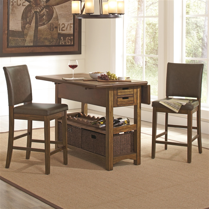 Salerno 3 Piece Counter Height Kitchen Island In Wire Brushed Amber Finish By Coaster 105567