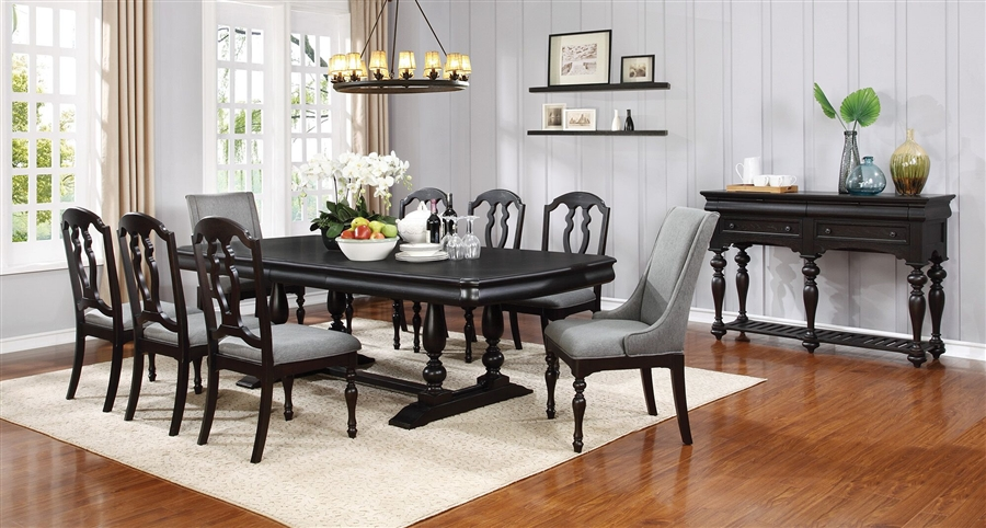 leon 7 piece dining set in black licorice finish by coaster 107331. Black Bedroom Furniture Sets. Home Design Ideas