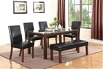 Otero 5 Piece Dining Set in Dark Brown Finish by Coaster - 107701