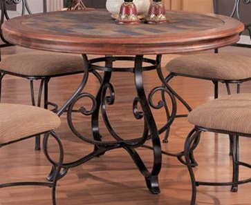 Exceptional Dark Wood/Metal Finish Round Top With Poly Slate Inserts 5 Piece Dining Set  By Coaster   120131