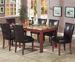 Telegraph Marble Look Top 7 piece Dining Set in Medium Brown Finish by Coaster - 120311