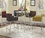 Glass Top Bar Table in Chrome Finish by Coaster - 120335