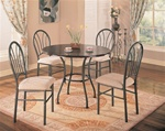Metal and Rich Dark Brown 5 Piece Dining Set by Coaster - 120568