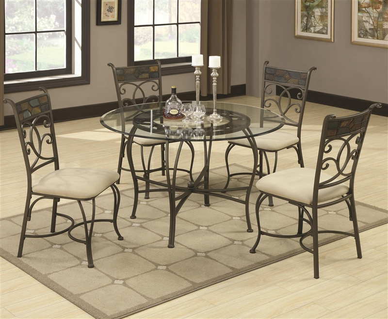 Ardith Glass Top 5 Piece Dining Table Set By Coaster 120831