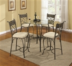Ardith Glass Top 5 Piece Counter Height Dining Table Set by Coaster - 120838