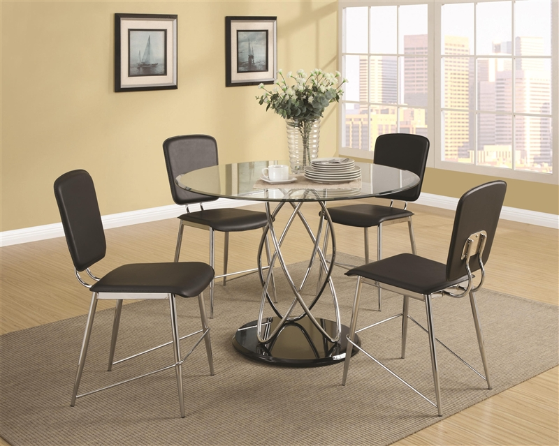Ciccone Glass Top 5 Piece Dining Table Set By Coaster 120990