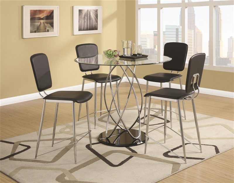 Ciccone Glass Top 5 Piece Counter Height Dining Table Set By Coaster    120997
