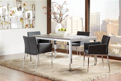 Mckenzie 5 Piece Dining Set In Weathered Grey And Chrome Finish By Coaster    121121