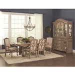 Ilana Traditional 7 Piece Dining Set in Antique Linen Finish by Coaster 122211