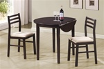 3 Piece Dining Set in Cappuccino Finish by Coaster - 130005