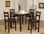 Laura 5 Piece Dining Set in Brown Oak Finish by Coaster - 150086