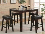 Softie 5 Piece Counter Height Dining Set in Cappuccino Finish by Coaster - 150094