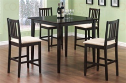5 Piece Counter Height Dining Set in Cappuccino Finish by Coaster - 150111