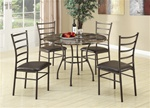 5 Piece Dining Set in Brown Finish by Coaster - 150112