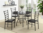5 Piece Dining Set in Black Finish by Coaster - 150113