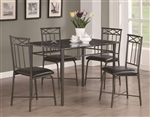 Marble Top Black Metal 5 Piece Dining Set by Coaster - 150115
