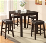 Sophia 5 Piece Counter Height Dining Set in Cappuccino Finish by Coaster - 150160