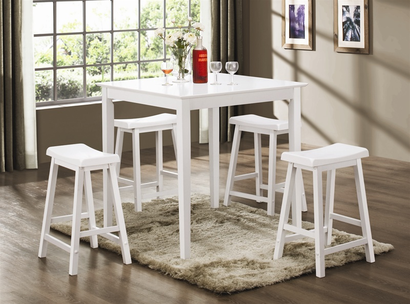 5 Piece Counter Height Dining Pub Set In White Finish By