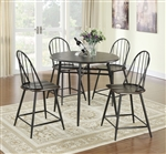 Counter Height 5 Piece Dining Set in Black/Cappuccino Finish by Coaster - 150378