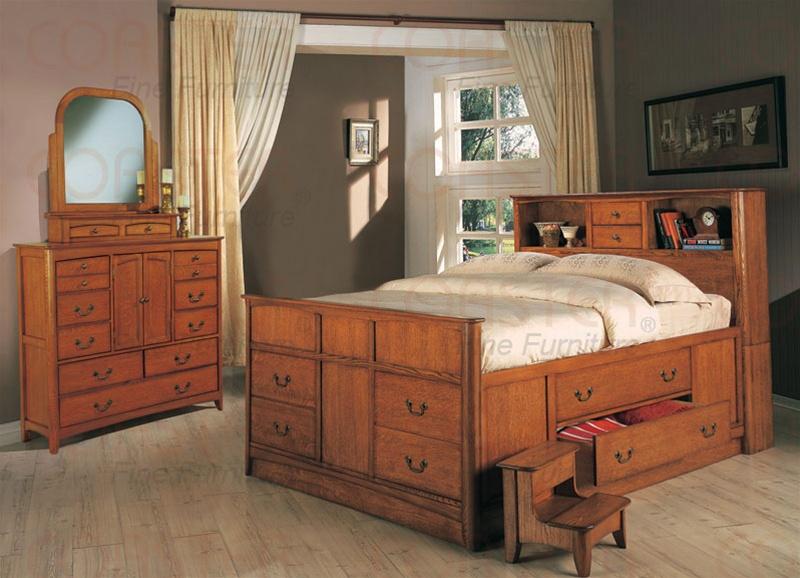 olivia 7 piece bookcase bed bedroom set in medium oak finish