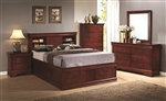 Louis Philippe Storage Bed 6 Piece Bedroom Set in Cherry Finish by Coaster - 200439